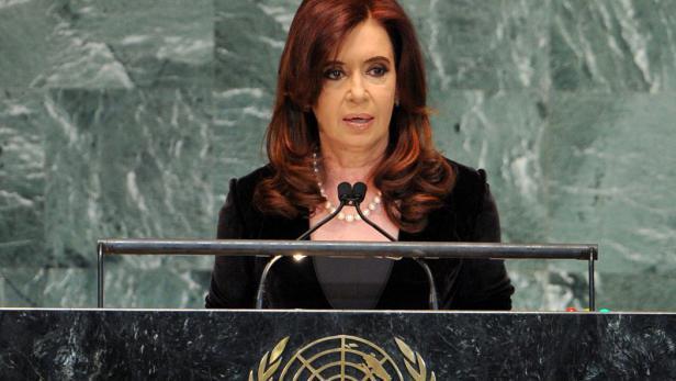 Cristina Fernándezová hovoří na zasedání Valného shromáždění OSN v New Yorku