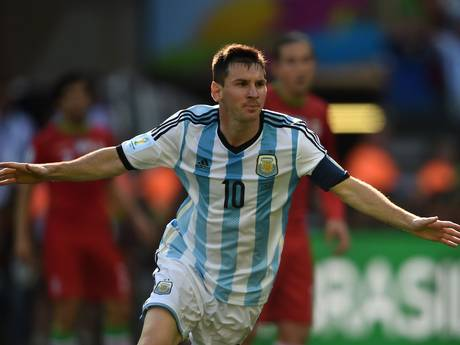 Lionel Messi celebrates his winning goal for Argentina